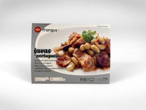 frangus, rei dos frangos, frangus food, broad beans, favas à portuguesa, portuguese food, mediterranean food, deep frozen ready meal